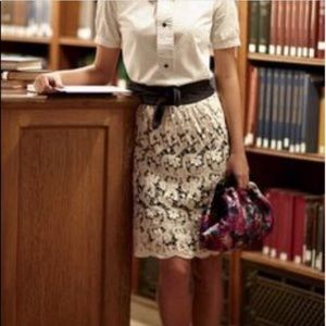 Lil Anthropologie black and cream lace skirt 4